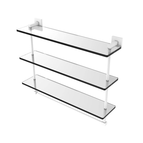 Montero Matte White 22-Inch Triple Tiered Glass Shelf with Integrated Towel Bar