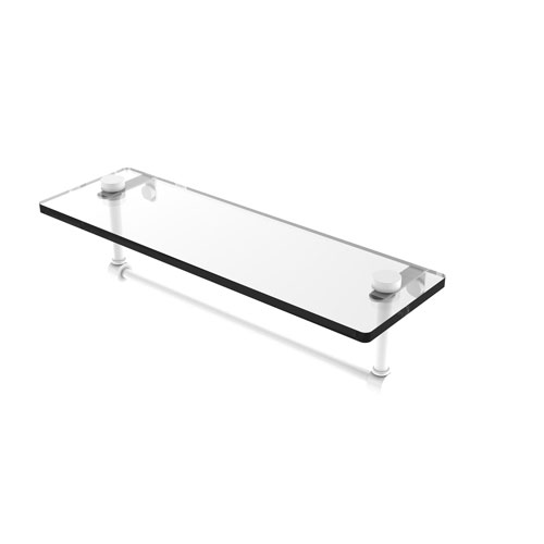 Matte White 16-Inch Glass Vanity Shelf with Integrated Towel Bar