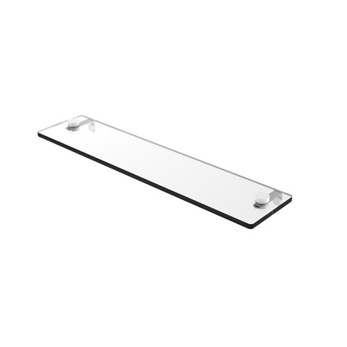 Matte White 22-Inch Glass Vanity Shelf with Beveled Edges