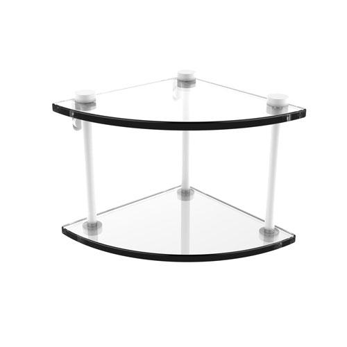 Matte White Eight-Inch Two-Tier Corner Glass Shelf