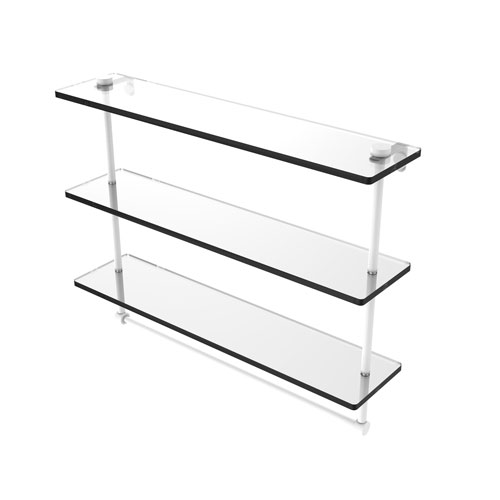 Matte White 22-Inch Triple Tiered Glass Shelf with Integrated Towel Bar