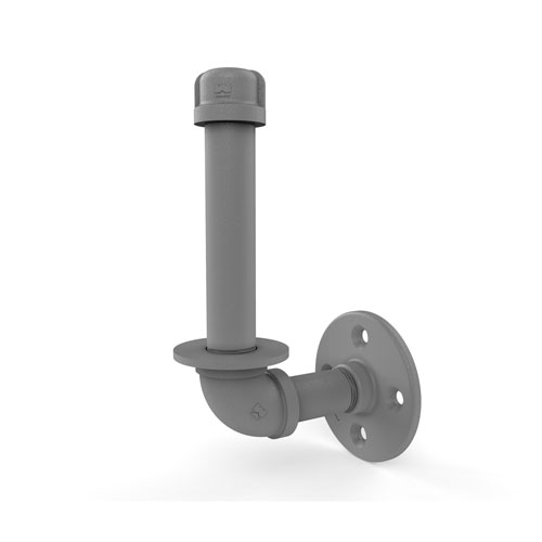 Pipeline Matte Gray Four-Inch Upright Toilet Paper Holder