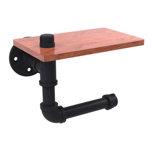 Pipeline Matte Black Five-Inch Toilet Paper Holder with Wood Shelf