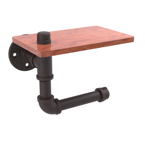 Pipeline Oil Rubbed Bronze Five-Inch Toilet Paper Holder with Wood Shelf