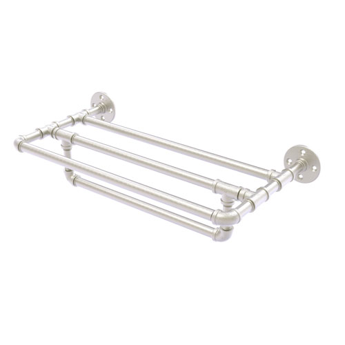 Pipeline Satin Nickel 18-Inch Wall Mounted Towel Shelf with Towel Bar