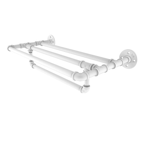 Pipeline Matte White 30-Inch Wall Mounted Towel Shelf with Towel Bar
