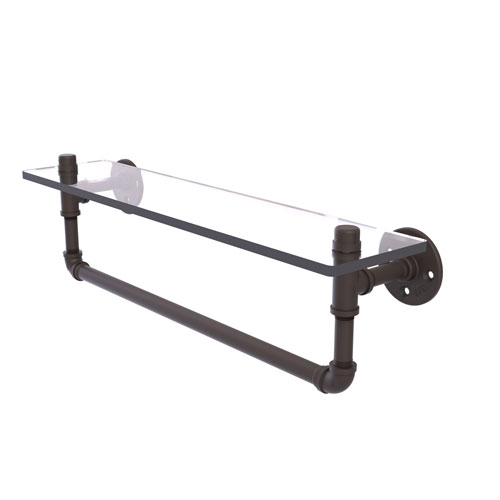 Pipeline Oil Rubbed Bronze 22-Inch Glass Shelf with Towel Bar