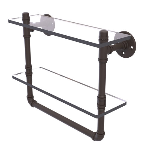 Pipeline Oil Rubbed Bronze 16-Inch Glass Shelf with Towel Bar