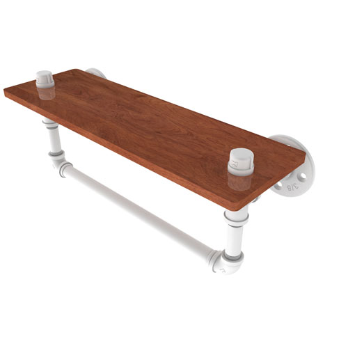 Pipeline Matte White 16-Inch Ironwood Shelf with Towel Bar