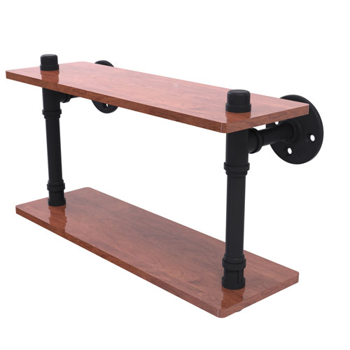 Pipeline Matte Black 16-Inch Ironwood Double Shelf