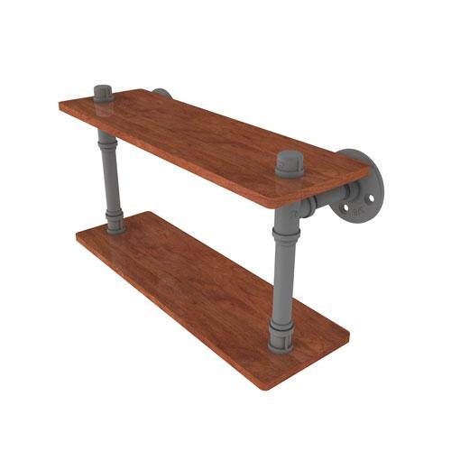 Pipeline Matte Gray 16-Inch Ironwood Double Shelf