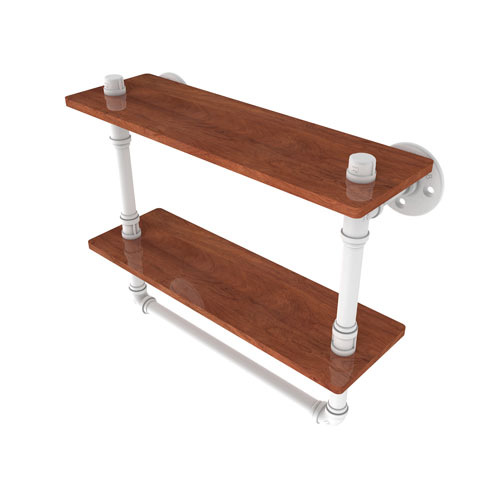 Pipeline Matte White 16-Inch Double Ironwood Shelf with Towel Bar