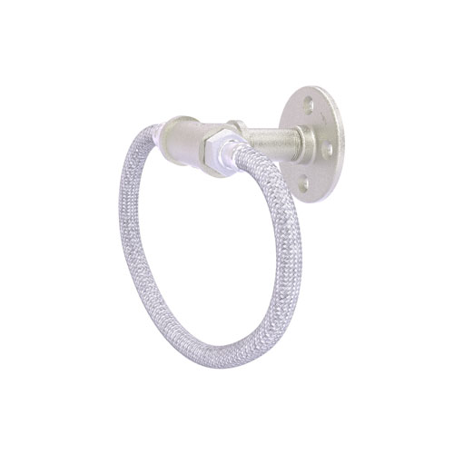 Pipeline Satin Nickel Four-Inch Towel Ring with Stainless Steel Braided Ring