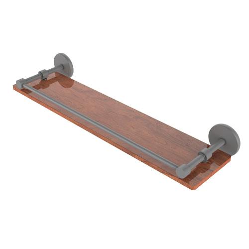Prestige Skyline Matte Gray 22-Inch Solid IPE Ironwood Shelf with Gallery Rail