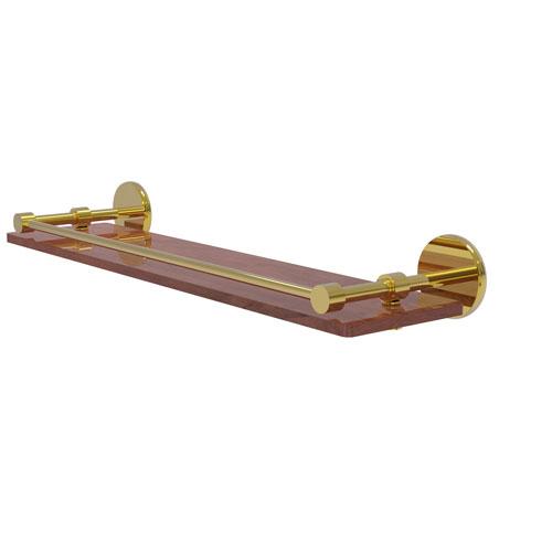 Prestige Skyline Polished Brass 22-Inch Solid IPE Ironwood Shelf with Gallery Rail