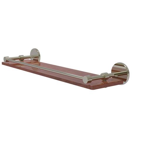 Prestige Skyline Polished Nickel 22-Inch Solid IPE Ironwood Shelf with Gallery Rail