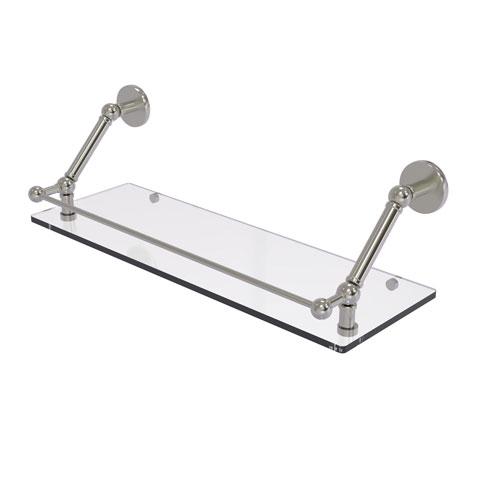Prestige Skyline Satin Nickel 24-Inch Floating Glass Shelf with Gallery Rail
