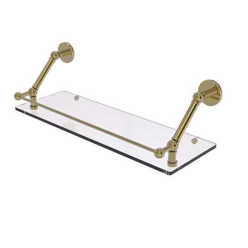 Prestige Skyline Unlacquered Brass 24-Inch Floating Glass Shelf with Gallery Rail