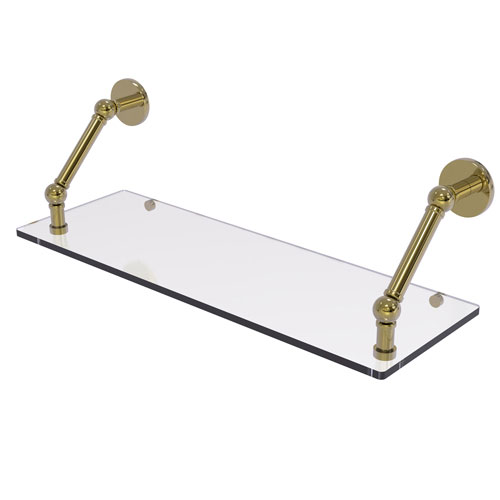Prestige Skyline Unlacquered Brass 24-Inch Floating Glass Shelf