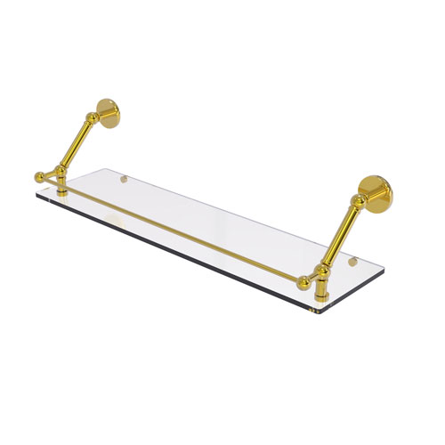 Prestige Skyline Polished Brass 30-Inch Floating Glass Shelf with Gallery Rail