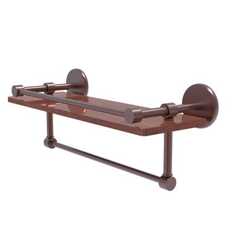 Prestige Skyline Antique Copper 16-Inch IPE Ironwood Shelf with Gallery Rail and Towel Bar