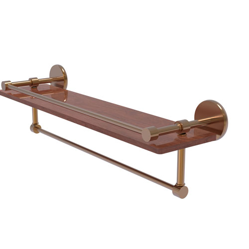 Prestige Skyline Brushed Bronze 22-Inch IPE Ironwood Shelf with Gallery Rail and Towel Bar