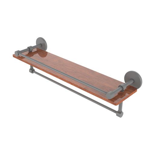 Prestige Skyline Matte Gray 22-Inch IPE Ironwood Shelf with Gallery Rail and Towel Bar