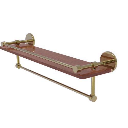 Prestige Skyline Unlacquered Brass 22-Inch IPE Ironwood Shelf with Gallery Rail and Towel Bar