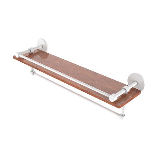 Prestige Skyline Matte White 22-Inch IPE Ironwood Shelf with Gallery Rail and Towel Bar