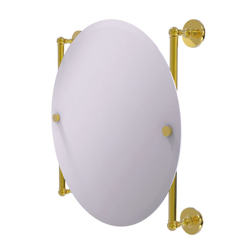 Prestige Skyline Polished Brass 22-Inch Round Frameless Rail Mounted Mirror
