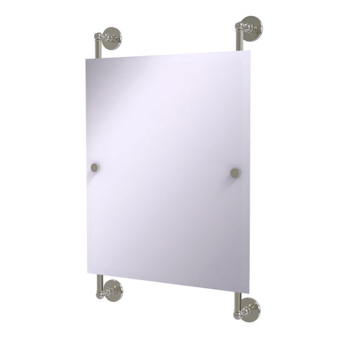 Prestige Skyline Satin Nickel 21-Inch Rectangular Frameless Rail Mounted Mirror