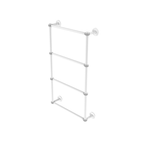 Prestige Skyline Matte White 30-Inch Four Tier Ladder Towel Bar with Dotted Detail