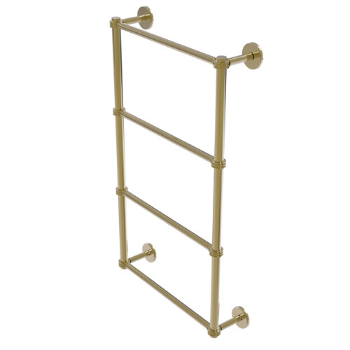Prestige Skyline Unlacquered Brass 36-Inch Four Tier Ladder Towel Bar with Dotted Detail