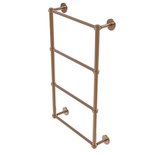 Prestige Skyline Brushed Bronze 24-Inch Four Tier Ladder Towel Bar with Groovy Detail