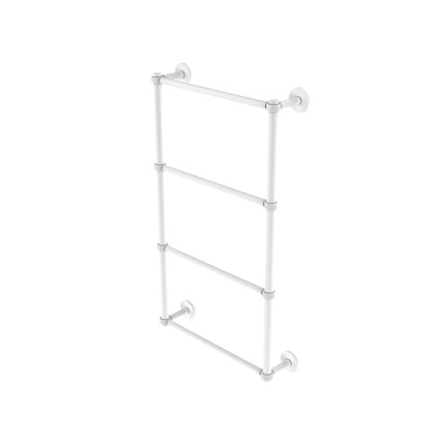 Prestige Skyline Matte White 24-Inch Four Tier Ladder Towel Bar with Groovy Detail