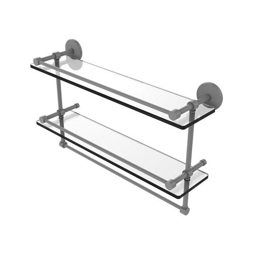 Prestige Skyline Matte Gray 22-Inch Double Glass Shelf with Towel Bar