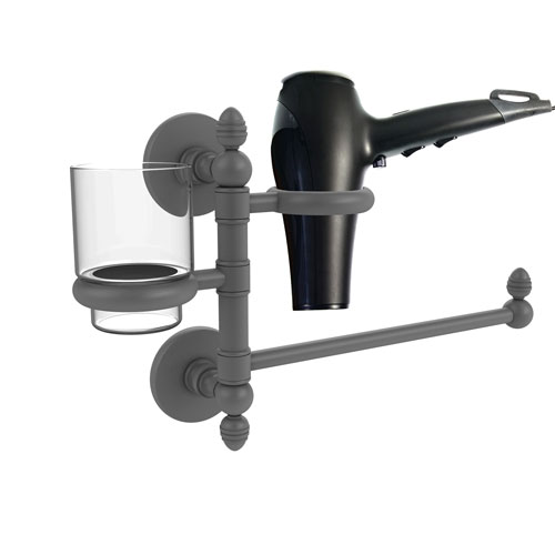 Prestige Skyline Matte Gray Seven-Inch Hair Dryer Holder and Organizer