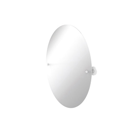 Prestige Skyline Matte White 21-Inch Frameless Oval Tilt Mirror with Beveled Edge
