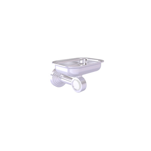 Pacific Beach Satin Chrome Three-Inch Wall Mounted Soap Dish Holder with Groovy Accents