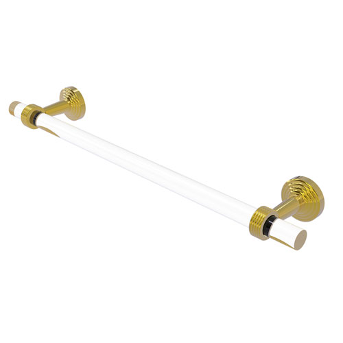 Pacific Beach Polished Brass 18-Inch Towel Bar with Groovy Accent