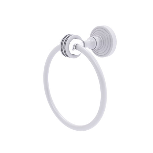 Pacific Grove Matte White Seven-Inch Towel Ring with Dotted Accents