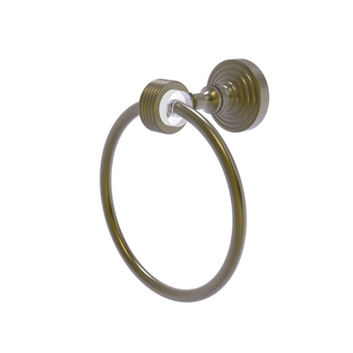 Pacific Grove Antique Brass Seven-Inch Towel Ring with Groovy Accents