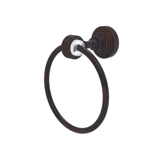 Pacific Grove Venetian Bronze Seven-Inch Towel Ring with Groovy Accents
