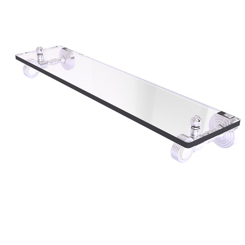 Pacific Grove Polished Chrome 16-Inch Glass Shelf with Groovy Accents