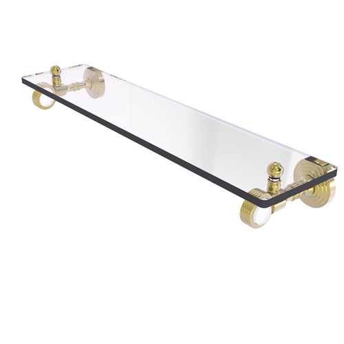 Pacific Grove Unlacquered Brass 22-Inch Glass Shelf with Groovy Accents