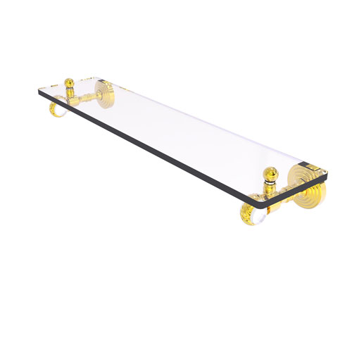 Pacific Grove Polished Brass 22-Inch Glass Shelf with Twisted Accents