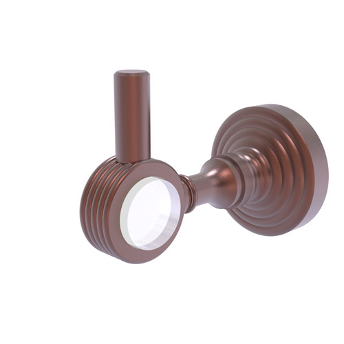 Pacific Grove Antique Copper Three-Inch Robe Hook with Groovy Accents