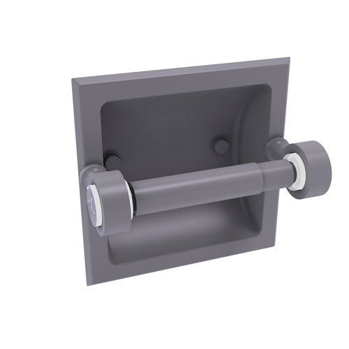 Pacific Grove Matte Gray Six-Inch Recessed Toilet Paper Holder
