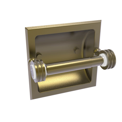 Pacific Grove Antique Brass Six-Inch Recessed Toilet Paper Holder with Dotted Accents