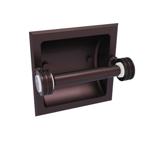 Pacific Grove Antique Bronze Six-Inch Recessed Toilet Paper Holder with Dotted Accents